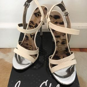Sam Edelman Cream Leather Snakeskin Heels